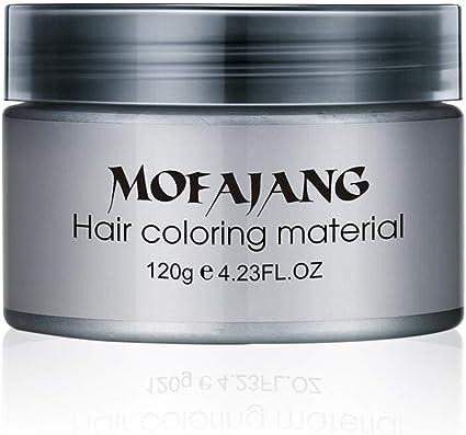 HATOLY MOFAJANG - Tinte de pelo, color crema, salón, pomada, color plata, ceniza, gris, cera para el pelo, temporal, desechable, unisex