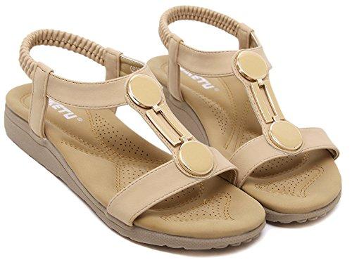 Sandali Da Spiaggia Casual Da Donna Open Toe Beige Agowoo