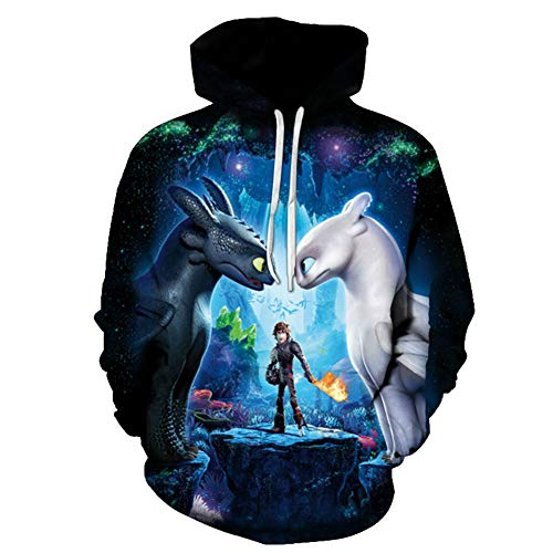 How to Train Your Dragon The Hidden World Toothless Light Fury Hoodie Jumper Sweater S-6XL (Type 2, S) ()