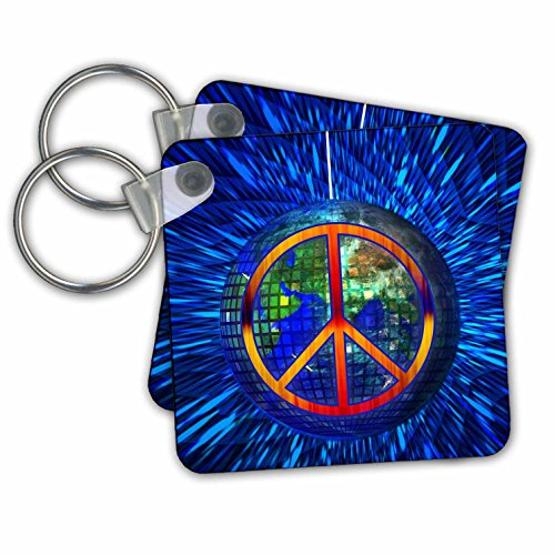 Doreen Erhardt Retro - Retro Hippie Themed Peace on Earth with Disco Ball and Tie Dye - Key Chains - set of 2 Key Chains (Disco Themed Clothes)