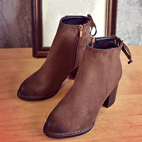 Schuhe Schlauchstiefel 39 Toe Booties Knöchel Elegant Sexy Einzelne Heels Heels Damen 35 Stiefeletten Sonnena High Winterstiefel Flock Bruwn Platz Stiefel Niedrige Warm Casual qwaUx1H