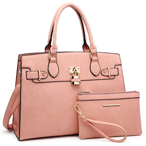 - Women Handbags and Purses Ladies Shoulder Bag Ostrich Top Handle Satchel Tote Work Bag with Wallet (23- Pink)