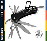 Swiss Style Army Multitool Pocket Knife - Heavy Duty Stainless Steel Multi Utility 15 Functions - Camping, Outdoor - Classic Foldable Compact Handy Rescue & Survival Tool - Field Rider