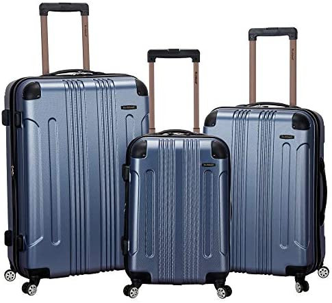 Rockland London Hardside Spinner Wheel Luggage, Blue, 3-Piece Set (20/24/28)