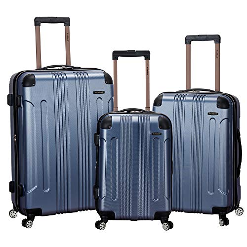 Rockland Luggage 3 Piece Abs Upright Luggage Set, Blue, Medium