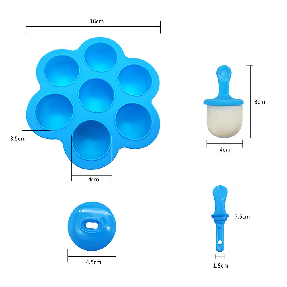 Billion Seed Silicone Egg Bites Molds for Baby Food Freezer Trays,Instant Pot Accessories with Popsicle Molds by Billon seed (Image #7)