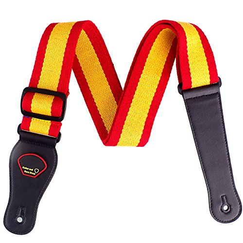 Guitar Strap, National Flag Printed Adjustable Soft Cotton Guitar Strap with Leather Ends (Spain)