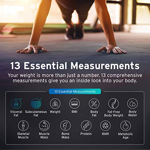 Etekcity Scale, Smart Body Fat Scale, Bathroom Bluetooth Digital Weight Scale Tracks 13 Key Compositions Analyzer, 6mm-Thick Glass, Sync with Fitbit, Apple Health and Google Fit, 400 lbs