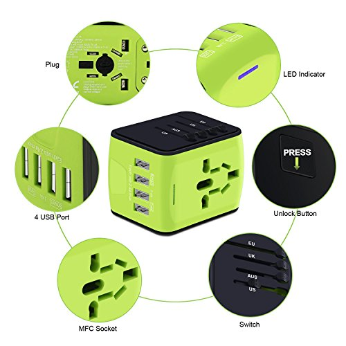 Universal Power Adapter Worldwide Wall Outlet AC Plug 4 USB Charging Ports with 3.4A Smart Power, All in One International Travel Adapter for US UK EU AUST Cell Phone Tablet Laptop Safety Fused, Blue by Poppin Kicks (Image #4)
