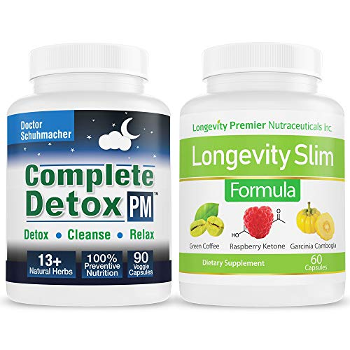 Longevity Complete Detox PM + Longevity Slim Formula [Value Pack]: 4 in 1 Slim Formula with Green Coffee Bean Extract + Raspberry Ketone + Garcinia Cambogia + Green Tea Extract