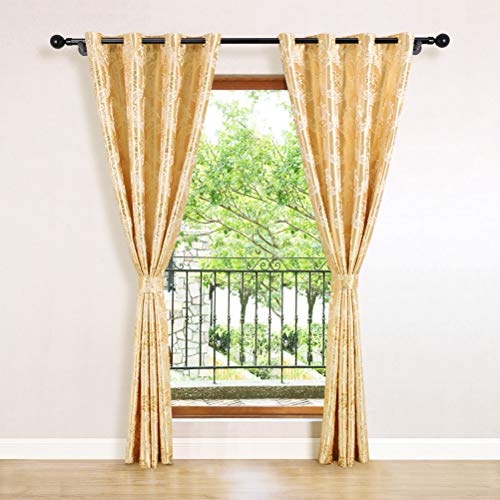 ELKCA Jacquard Luxury Gold Curtains Drapes Window Curtains for Living Room Bedroom Curtain Grommet Top-2 Panles (Damask-Golden