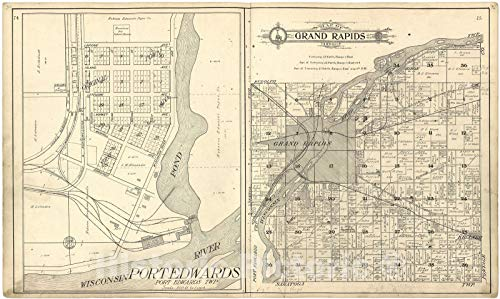 (Historic 1909 Map | Standard Atlas of Wood County, Wisconsin | Map of Grand Rapids Township 74in x 44in)