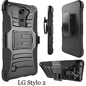 LG Stylo 2 Case, ATUS - Hybrid Armor Kickstand Swivel Belt Clip Holster With Tempered Glass Screen Protector (Black/Black)