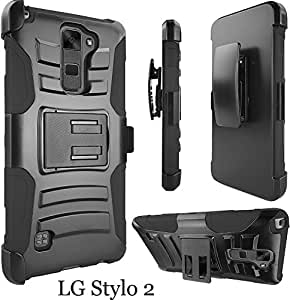 LG Stylo 2 Case, ATUS - Hybrid Armor Kickstand Swivel Belt Clip Holster With Tempered Glass Screen Protector and Stylus Pen (Black/Black)