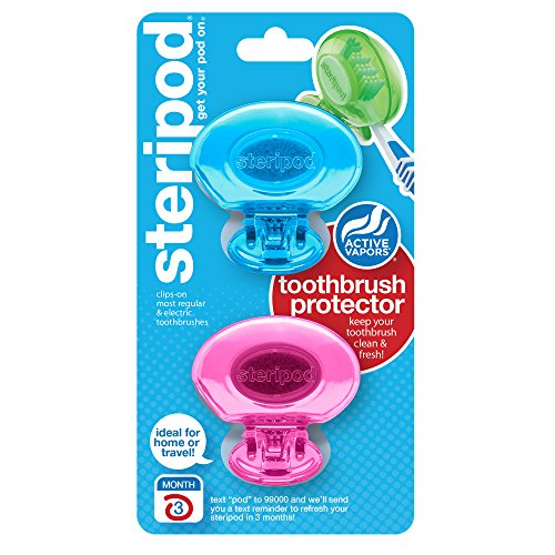 Steripod Clip-on Toothbrush Protector (2 Pack Pink and Blue)...