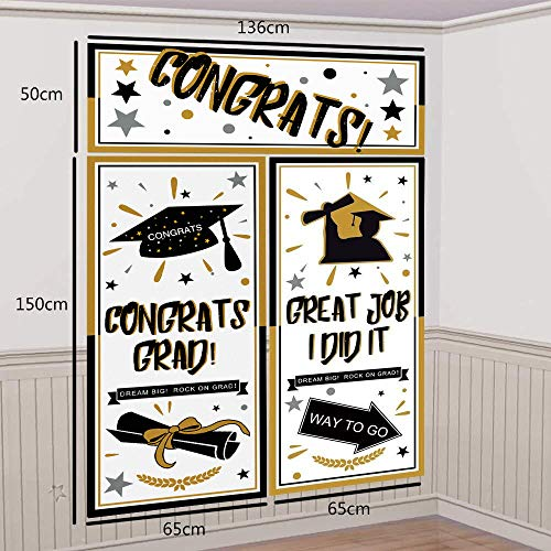 Graduation Backdrop Banner Party Decorations Supplies 2019 - Grad Congrats Photo Booth Wall Party -