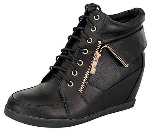 Top Moda PETER-30 Women's Lace Up High Top Collar Fashion Sneaker Wedge Bootie - Black PU,8 B(M) US,Black Pu