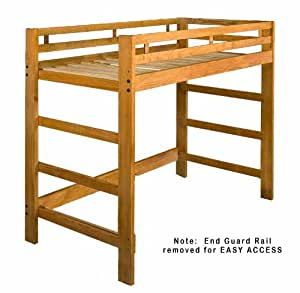 Twin Spirit Loft Bed - Golden Oak Stain - No Lacquer - Solid Wood - Holds 1000 Lbs.