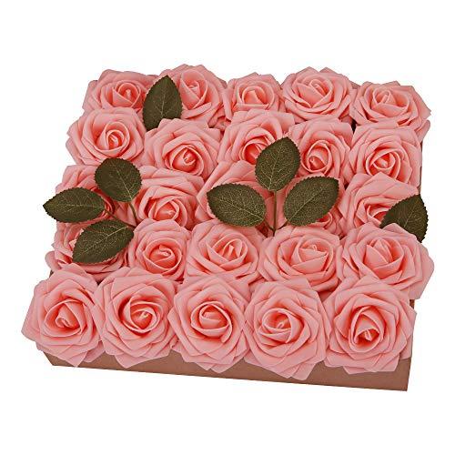 YINGSHENG Fake Roses Pink 50pcs Real Looking Flowers Artificial Rose w/Stem