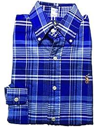 Men's Long Sleeve Oxford Button Down Shirt-Navy/Blue...