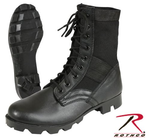 Black Panama Sole Military Leather Jungle Boots 5081