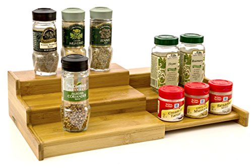 (Expendable Spice Rack, Spice Shelf, Spice Storage Organizer 3 Tier Made of Organice Bamboo by Intriom Bamboo Collection)