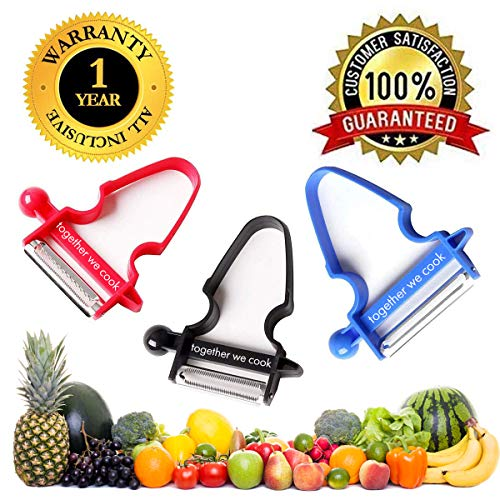 NEW 2018 | Magic Trio Peelers | Set Of 3 Stainless Steel Fruit & Vegetable Peelers | Great For Potatoes, Carrots, Apples, Oranges & Garlic | By Together We Cook