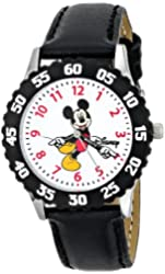 Disney Kids' W000237 Mickey Mouse Stainless Steel Time Teacher Watch with Black Leather Band