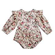 Infant Baby Girl Twins Long Sleeve Ruffles Romper Bodysuit Outfit Clothes (6-12 Months, Floral)