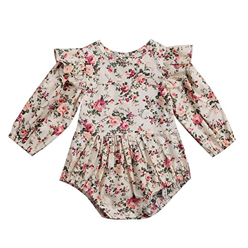 Infant Baby Girl Twins Long Sleeve Ruffles Romper Bodysuit Outfit Clothes (0-6 Months, Floral) (Woven Shirt Sleeve)