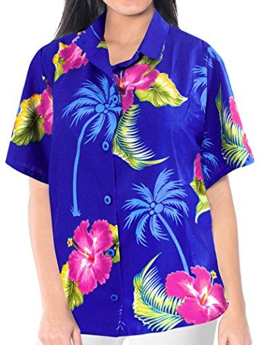 La Leela Likre Short Sleeve Button up Down Cruise Tropical Carribean Hibiscus Flower Floral R_Blue (Tropical Floral Silk Skirt)