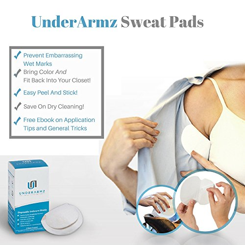 Price comparison product image Armpit Sweat Pads. Fight Hyperhidrosis With Underarm Sweat Pads for women and men.  28 [14 pairs Individually Wrapped] Disposable Garment Guards For Women and Men