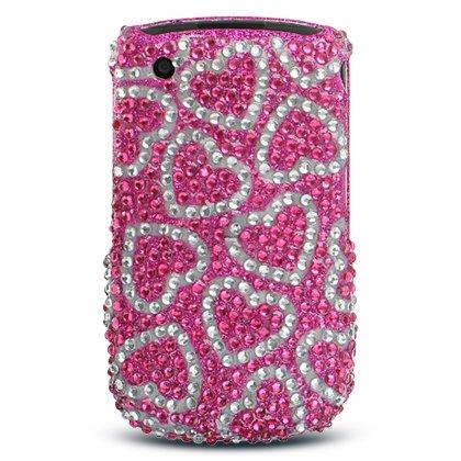 Pink with Silver Raining Hearts Blackberry 8520 / 8530 Curve Sparkling Luxury Rhinestones Full Diamond Bling Snap on Cell Phone Case + Microfiber (Raining Hearts Rhinestones)
