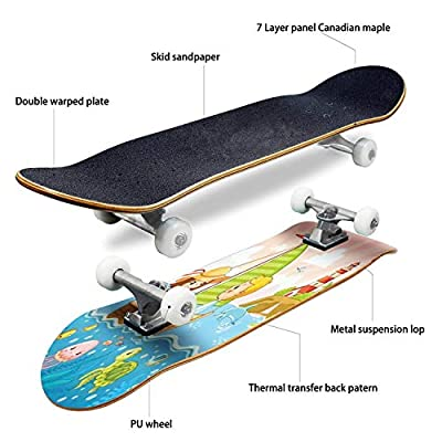 Classic Concave Skateboard Boy and a Girl are Sailing on a Sailboat by The sea Vector Longboard Maple Deck Extreme Sports and Outdoors Double Kick Trick for Beginners and Professionals : Sports & Outdoors