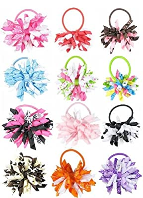 HipGirl Boutique Girls Hair Bow Ties Ponytail Holders, No Crease Ouchless Stretchy Elastic Styling Tool Accessories
