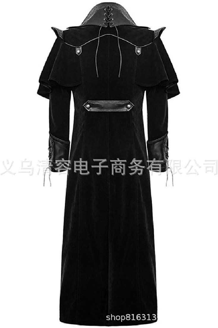 CuteRose Mens Long Gothic Victorian Medieval Steampunk Retro Trench Coat Outwear Black