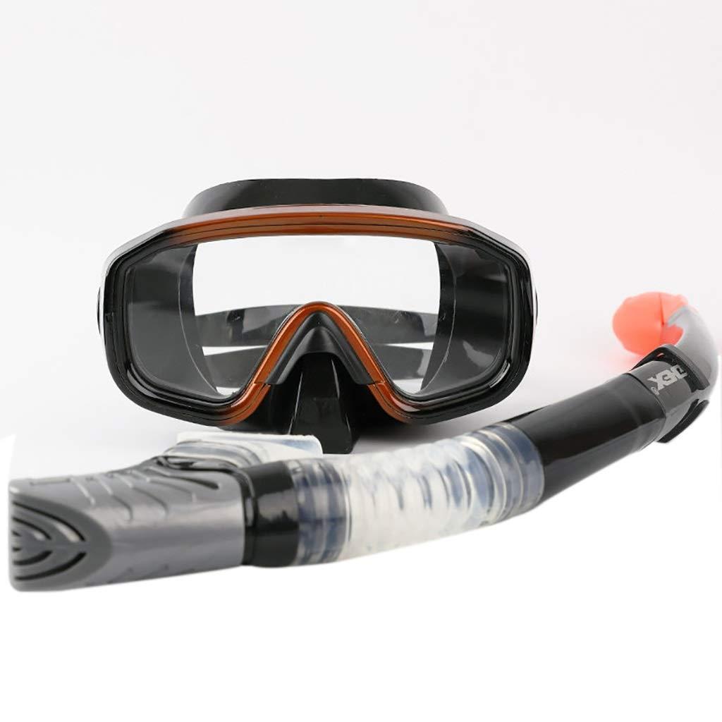 TYJ-JP ゴーグル、フルドライシュノーケルセット、水泳用ミラー近視鏡、大人用 (Color : Brown) B07THWXLS8 Brown