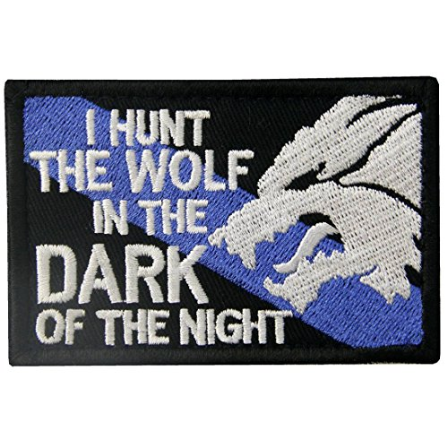 Tactical Patch I Hunt The Wolf Embroidered Sheepdog Applique Army Morale Hook & Loop Emblem, White & Black (Vest Patches Wolf)