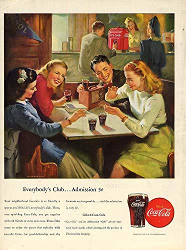 Everybody's Club - Admission 5c Coca-Cola ad 1947 soda shop by Sundblom L