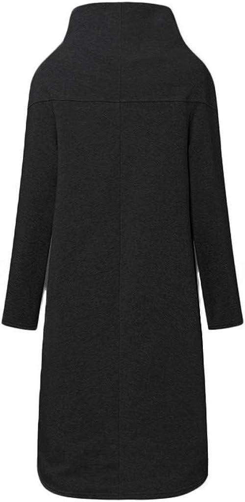 Gofodn Mäntel für Frauen in Übergröße, Hoodies, Sweatshirt, Jacken, lässig, solide Reißverschlusstaschen, mit Kapuze, lange Ärmel, Oberbekleidung X-irregulär Schwarz