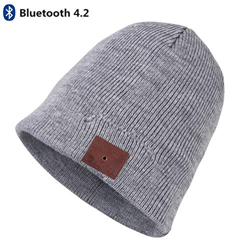 (Bluetooth Beanie, Bluetooth Hat, Wireless V4.2 Headphones Beanie Winter Warm Washable Knit Cap Music Hat with Stereo Speakers Mic Hands Free Talking for Men Women Outdoor Sports by JTONG (Light Grey))