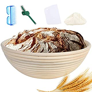 Banneton, Bread Proofing Basket,10Inch Sourdough Proving Basket,Comes with 4 accessories,Perfect Baking Bowl for Professional & Home Bakers(Warome 5 in 1 Set)