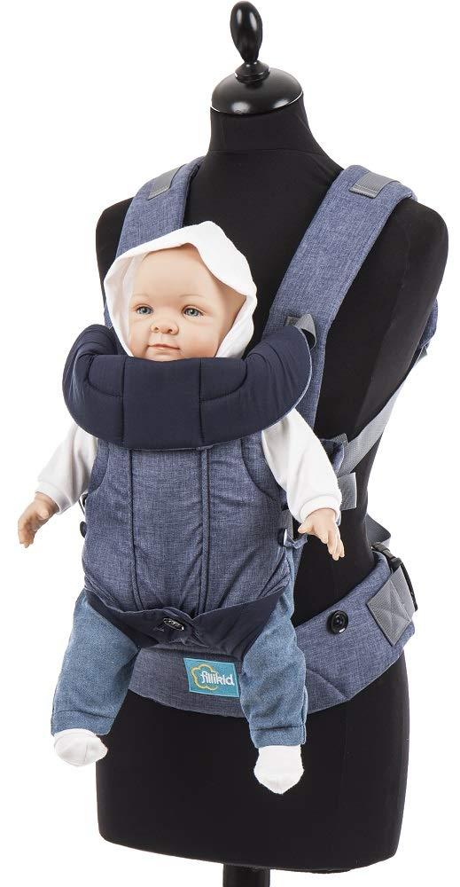 f/ür Neugeborene /& Kleinkinder von 3 bis 24 Monate Design:blau 3,5-14,5 kg Fillikid Babytrage Kindertrage Vario Top 4 Tragem/öglichkeiten ergonomische Bauchtrage /& R/ückentrage