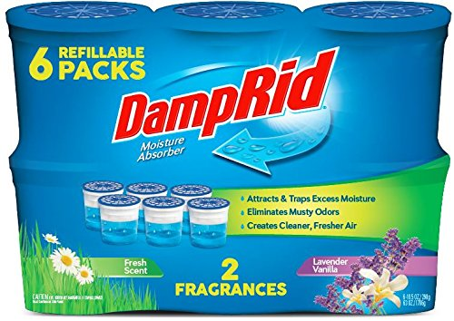 - DampRid FG01FSLV33C Moisture Absorber Odor Eliminator,Lavender and Vanilla, 6 pack