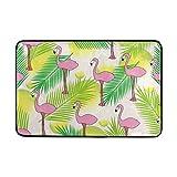 Chen Miranda Flamingo Palm Leaves Pattern Door Mat Carpets Indoor Outdoor Area Rugs Office Door Mat Non-slip for Bedroom Bathroom Living Room Kitchen Home Decorative 23.6x15.7 inch Lightweight