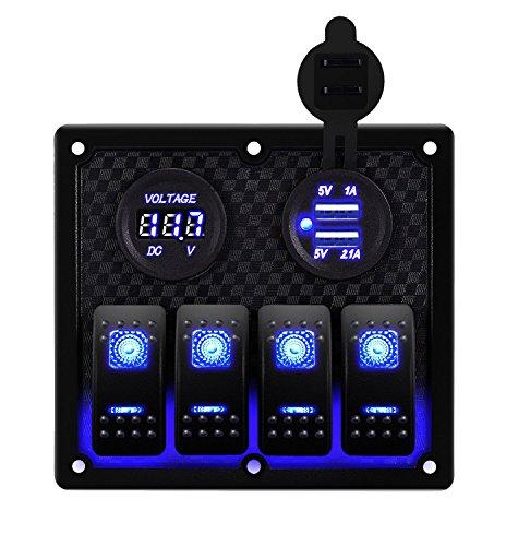DCFlat Waterproof 6 Gang Toggle Rocker Switch Panel Car Marine Boat Circuit LED Breaker Voltmeter (4 Gang (Club Car Precedent Dash)