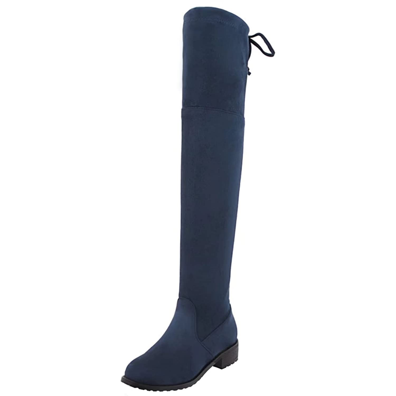 Damen Niedrige Overknee Stiefel mit 4cm Absatz Winter Warm Langschaft Stiefel Aiyoumei 5Q4tLGEW