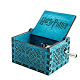 YENJO Retro-Style Wooden Hand-Carved Square Hand Shake Music Box Musical Boxes & Figurines