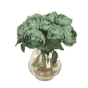 Rambling Peony Artificial Flower, 1 Bouquet 6 Heads Retro Artificial Fake Silk Flowers Leaf Home Wedding Party Decor 34