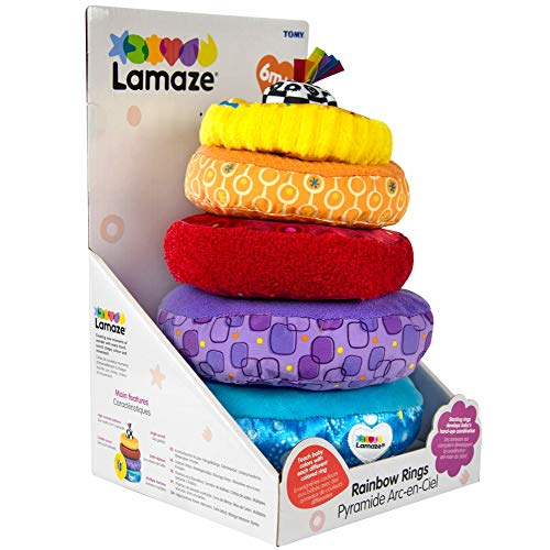 51xNi%2Bd 5JL - LAMAZE - Rainbow Stacking Rings Toy, Help Baby Develop Fine Motor Skills and Hand-Eye Coordination with Multiple Textures, Bold Colors, Playful Patterns and Crinkly Sounds, 6 Months and Older